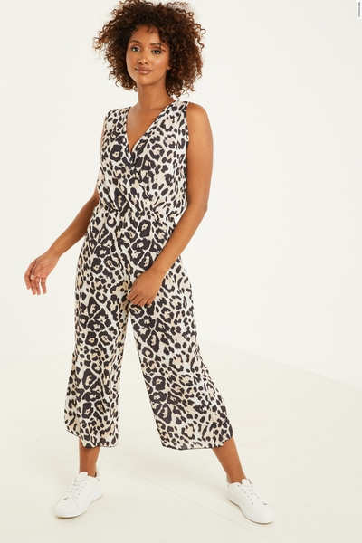 Brown Leopard Print Culotte Jumpsuit